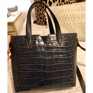 Vince Navy Baby Signature V Croc Embossed Tote